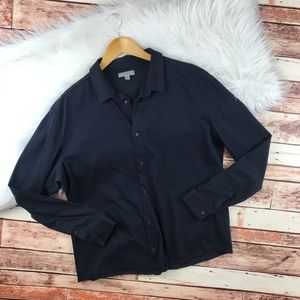 COS navy blue button down blouse